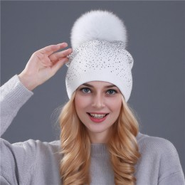 [Xthree] kobiety czapka zimowa kapelusz futra królika wełny dzianiny kapelusz kobieta z norek pom pom błyszczące kryształki kape