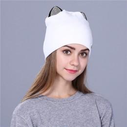 Xthree flanelowe damskie jesienne czapki zimowe śliczne kitty dziecięce czapka beanie dla dziewczynek Skullies gorras