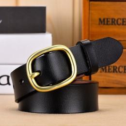 DINISITON nowy pasek damski z prawdziwej skóry paski dla kobiet kobieta złota przypinka pasek z klamrą Fancy Vintage dla dżinsów