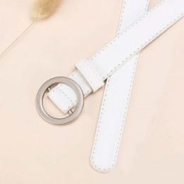 JIFANPAUL damskie proste uniwersalne paski damskie czysta skóra moda punk okrągłe ze sprzączką dekoracyjne jean cienki pasek dar
