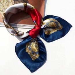 50*50 wielofunkcyjny jedwabny szalik kobiety moda drukowane szaliki kwiat wstążka do włosów-Leopard paski wstążka nakrycia głowy