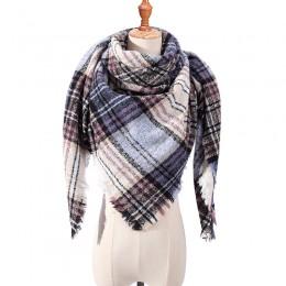 Projektant marki kobiety szalik moda plaid zimowe szaliki dla pań kaszmirowe szale okłady ciepłe szyi trójkąt bandaż pashmina