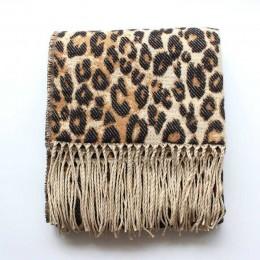 Brązowy Poncho Leopard Femme kobiety koc zimowy szalik ciepły miękki kaszmir ciepły, długi płaszcz panie Tassel szaliki Poncho F