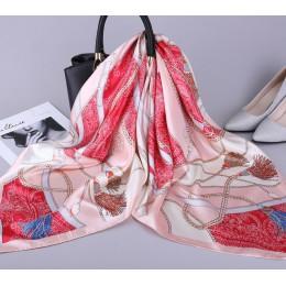 2019 moda chustka satyna jedwabna szalik dla kobiet drukuj szale hidżab kobieta 90*90cm kwadratowe szale i okłady szaliki dla pa