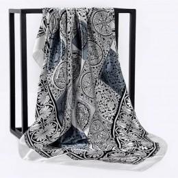 Jedwabny szalik kobiety drukuj włosy szyi kwadratowe chustki biurowa, damska szal Bandanna 90*90cm muzułmański hidżab chusteczka