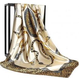 2020 90*90cm lato kobiety jedwabne szale Foulard plac szalik panie luksusowa marka plaża szal Bandanna duży hidżab tłumik kobiet