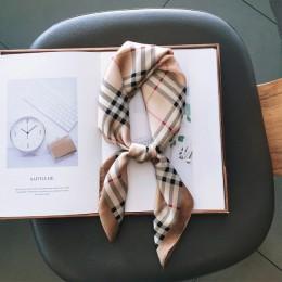 Modny nadruk kwadratowy jedwabny szalik damski z wąską szyjką szalik biurowy damski opaska do włosów ręcznie szalik chustka dams