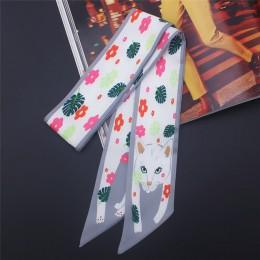 17 kolorów nadruk zwierzęta 2020 nowa torba Skinny Silk szalik dla kobiet luksusowych marek Foulard kobiety krawat moda szale na