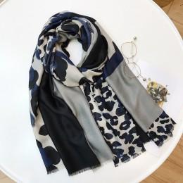 Damskie nowe mody wzór lamparta, patchworkowa wiskoza szalik jesienno-zimowa tłumik z pałąkiem na głowę Foulard Sjaal Wrap hidża