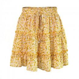 Jocoo Jolee kobiety lato kwiatowy Print plisowana Mini spódnica elegancka wysoka talia krótka plaża wakacje spódnica na co dzień
