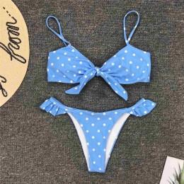 2020 Sexy niebieski łuk Polka Dot Bikini kobiety stroje kąpielowe damski strój kąpielowy dwuczęściowy zestaw Bikini brazylijski