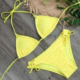 2019 dziewczyny Sexy koronkowe Bikini Set stroje kąpielowe żółty push up strój kąpielowy Monokini kobiet kostiumy kąpielowe mikr