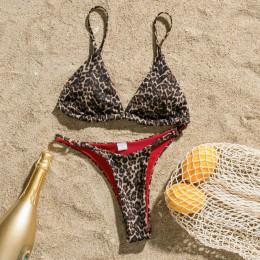 Bikinx trójkąt string seksowne stroje kąpielowe kobiety mikro strój kąpielowy Push up wzór w cętki kostium kąpielowy damski braz