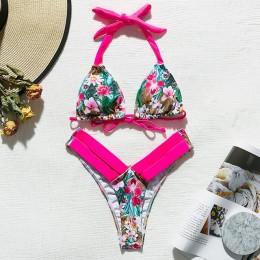 Leopard brazylijskie bikini 2020 Push up stringi kostium kąpielowy damski Halter wysokie cięcie neonowe stroje kąpielowe damskie