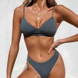 Sexy stałe stringi brazylijski zestaw Bikini Push-Up 2020 strój kąpielowy kobiety stroje kąpielowe strój kąpielowy strój kąpielo