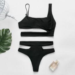 Seksowne bikini z wysokim stanem Push up brazylijski strój kąpielowy czarne stroje kąpielowe wysokie cięcie strój kąpielowy kobi