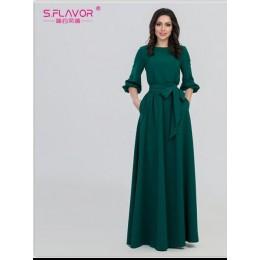 S. FLAVOR kolor zielony kobieta O-Neck długa sukienka styl boho Slim Vestidos Vintage 3/4 latarnia rękaw w stylu casual, letnia