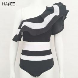 2020 nowy letni czarny biały Ruffles strój kąpielowy kobiety w paski dwuczęściowy zestaw bikini jeden strój kąpielowy z odsłonię