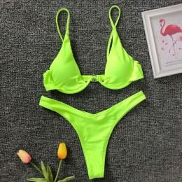 Neon zielony v-bar fiszbiny Bikini 2020 damski strój kąpielowy kobiety stroje kąpielowe dwuczęściowy V kształt drutu Bikini set