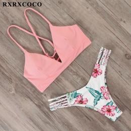 RXRXCOCO bandażowy strój kąpielowy kobiety brazylijski strój kąpielowy Bikini kobiet stringi Bikini zestaw strój kąpielowy Push