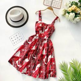 Marwin 2019 nowe letnie kobiety Spaghetti pasek kwiecisty nadruk bez rękawów imperium sukienki plażowe luksusowy styl