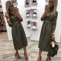 Casual Sashes linia kobiety sukienka damska z długim rękawem skręcić w dół kołnierz Fashion Party Dress jesień elegancka długa s