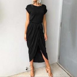 2020 długie sukienki imprezowe Plus rozmiar lato z krótkim rękawem kobiety sukienka elegancka Maxi luźne Vestidos sukienki letni