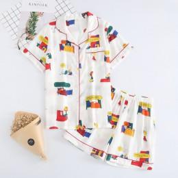 Piżamy damskie 100% bawełniane krótkie rękawy damskie zestawy piżam szorty śliczny nadruk kreskówkowy japońskie proste piżamy Ho