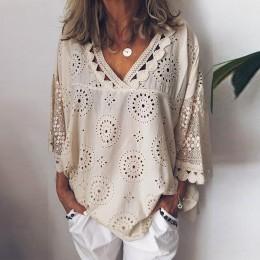 Kobiety bluzka drążą koronkowe patchworkowe topy kobiety plus rozmiar 5xl geometria dekolt letnia koszula vrouw bluzka duże rozm