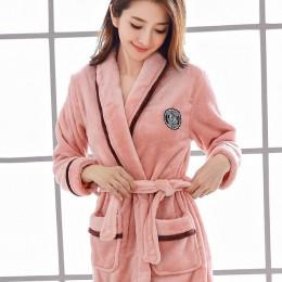 Miłośnicy koral polar szata jesienno-zimowa ciepła piżama kobiety mężczyźni zagęścić szlafrok salon koszula nocna ubrania domowe
