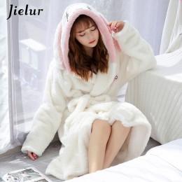 Jielur Coral Velvet szlafrok kobiety Cartoon śliczne ciepłe szlafrok z kapturem królik flanelowe szlafrok Kimono szlafroki bieli