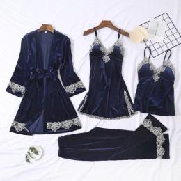 2019 jesień zima aksamitna piżama dla kobiet piżamy ciepła piżama z dekoltem w kształcie litery v Pijama Mujer 4 sztuka zestawy