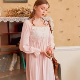 Koszule nocne z długim rękawem jesień bielizna nocna haftowana wiskoza bielizna nocna kobiety koszule nocne dla kobiet koszula n