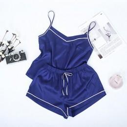 Suphis kontrastowy pasek boczny granatowy Cami Top satynowe szorty garnitury kobiece letnie ubrania domowe kobiety zestaw piżamy