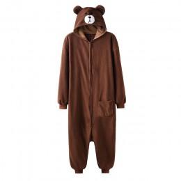 Zwierząt Onesie Plus rozmiar XXL niedźwiedź Kigurumis 150-190 cm dorosłych kobiet mężczyzn piżamy snu ogólnie Polar runo kombine