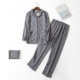 100% bawełniana piżama zestaw kobiety Winter Warm Sexy Femme drukuj Cartoon piżama koszule z długim rękawem spodnie 2 sztuka/zes