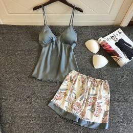 Lato Sexy kobiety piżamy z klatki piersiowej klocki druku jedwabiu kobiet piżamy czteroczęściowe zestawy wygodne piżamy kobiet P