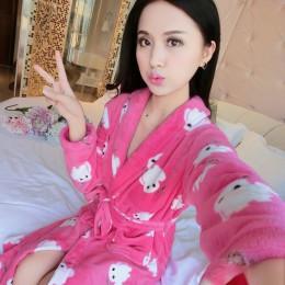 Nowe różowe kobiety zima koral polar suknia Kimono strona główna szata gruby ciepły salon bielizna nocna słodkie para miłośników