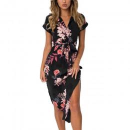 Kobiety kwiatowy Print plaża sukienka moda Boho letnie sukienki damskie Vintage bandaż Bodycon Party Dress Vestidos Plus rozmiar
