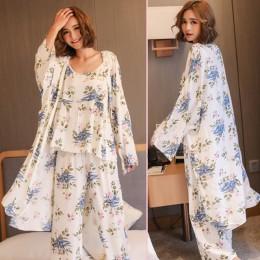 HEFLASHOR kobiety piżamy 3 sztuk Satin bielizna nocna Pijama jedwabna odzież domowa odzież domowa haft Sleep Lounge piżama zesta