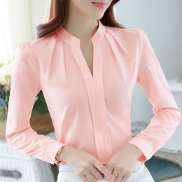 Dreawse wiosna jesień kobiety bluzki z długim rękawem Casual szyfonowa bluzka kobiet V-Neck odzież do pracy Solid Color białe ko