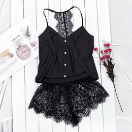 Suphis czarny zestaw piżamy damskie satynowe piżamy Spaghetti pasek Camis Top kwiecista koronka szorty seksowna bielizna Pijama