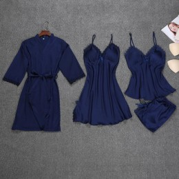 Nowe satynowe kobiety 4 sztuk zestaw snu Rayon bielizna nocna wiosna pidżama z długim rękawem komplet piżamy seksowna podomka sz