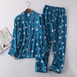 Korea Cute cartoon 100% piżamy bawełniane damskie piżamy ustawia japoński słodki 100% szczotkowane bawełniane piżamy damskie pij