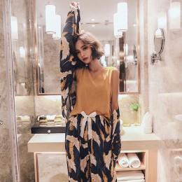 4 sztuk kobiety piżamy zestaw komfort bawełna satyna elegancki koronowany żuraw drukowane piżamy płaszcz + kamizelka + spodnie +