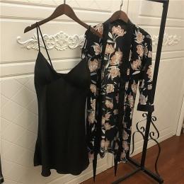 2019 kobiet satynowa bielizna nocna szata Sexy jedwabny zestaw szlafroków Sleep Lounge kryty odzież damska nocna koszula nocna z