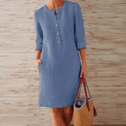 VIEUNSTA jesienna bawełniana lniana sukienka 2019 modny guzik O-Neck kolano Party Dress kobiety z długim rękawem kieszonkowe suk