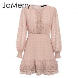 JaMerry Vintage sexy biała koronkowa krótka sukienka kobiety długi rękaw bufka sukienki kropki kobieta luksusowa szczupła mini s