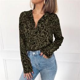 Kobiety bluzki jesień Vintage bluzka lampart z długim rękawem skręcić w dół kołnierz pani koszula biurowa luźne góra Plus rozmia