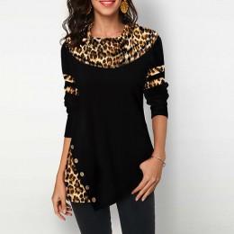 Wzór w cętki bluzki damskie koszule Casual Plus rozmiar 2020 wiosna tunika damska nieregularny guzik bawełniane damskie topy i b